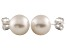 7-7.5mm White Cultured Freshwater Pearl 14k White Gold Stud Earrings