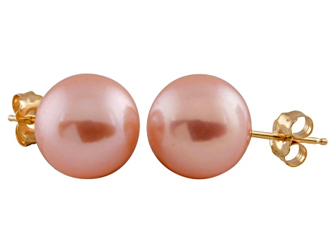 9-9.5mm Pink Cultured Freshwater Pearl 14k Yellow Gold Stud Earrings