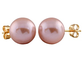 9-9.5mm Purple Cultured Freshwater Pearl 14k Yellow Gold Stud Earrings