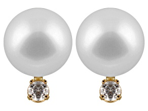 7-7.5mm Cultured Japanese Akoya Pearl With Diamond 14k Yellow Gold Stud Earrings