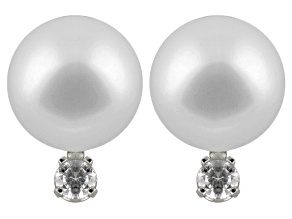 7-7.5mm Cultured Japanese Akoya Pearl With Diamond 14k White Gold Stud Earrings