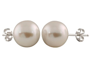 9-9.5mm White Cultured Freshwater Pearl 14k White Gold Stud Earrings