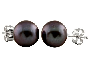 7-7.5mm Black Cultured Freshwater Pearl Sterling Silver Stud Earrings
