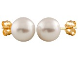 7-7.5mm White Cultured Freshwater Pearl 14k Yellow Gold Stud Earrings