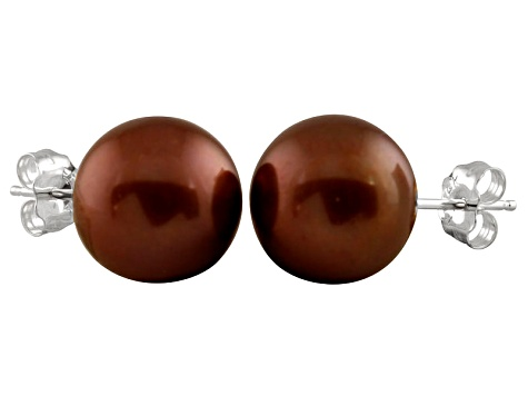 9-9.5mm Chocolate Cultured Freshwater Pearl 14k White Gold Stud Earrings