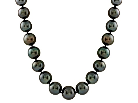 11-14mm Black Cultured Tahitian Pearl 14k Yellow Gold Strand Necklace 18 inches