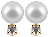 8-8.5mm Cultured Japanese Akoya Pearl With Diamond 14k Yellow Gold Stud Earrings