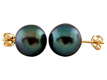 Picture of 9-9.5mm Black Cultured Freshwater Pearl 14k Yellow Gold Stud Earrings