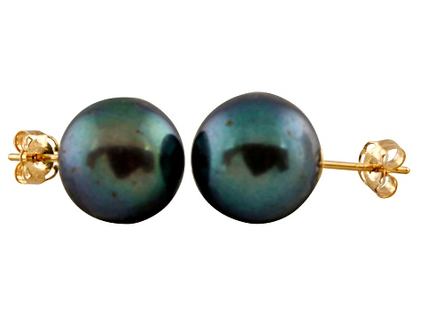 9-9.5mm Black Cultured Freshwater Pearl 14k Yellow Gold Stud Earrings
