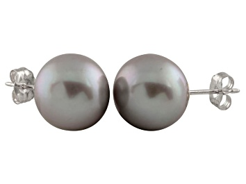 Picture of 9-9.5mm Silver Cultured Freshwater Pearl 14k White Gold Stud Earrings