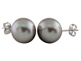 9-9.5mm Silver Cultured Freshwater Pearl 14k White Gold Stud Earrings