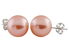 9-9.5mm Pink Cultured Freshwater Pearl 14k White Gold Stud Earrings