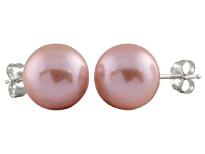 9-9.5mm Purple Cultured Freshwater Pearl Sterling Silver Stud Earrings
