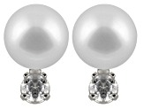 8-8.5mm Cultured Japanese Akoya Pearl With Diamond 14k White Gold Stud Earrings