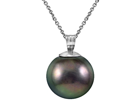 Rhodium Over Sterling Silver 11mm Tahitian Cultured Pearl Pendant With Chain.