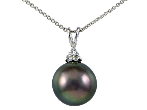 Rhodium Over Sterling Silver 11mm Tahitian Cultured Pearl Pendant With Chain