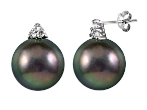 Rhodium Over Sterling Silver 11mm Tahitian Cultured Pearl Stud Earrings
