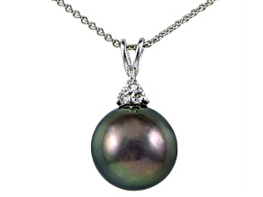 Rhodium Over Sterling Silver 12mm Tahitian Cultured Pearl Pendant With Chain