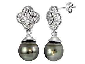 11mm Tahitian Cultured Pearl Rhodium Over Sterling Silver Dangle Earrings