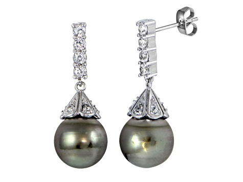 Rhodium Over Sterling Silver 11mm Tahitian Cultured Pearl Dangle Earrings