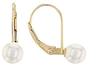 14kt Yellow Gold 6-7mm White Cultured Japanese Akoya Pearl Mini Leverback Earrings