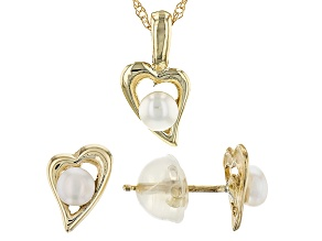 14k Yellow Gold 3-4mm Cultured Freshwater Pearl Earrings And Pendant Set