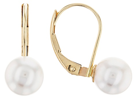 14k Yellow Gold 6-7mm White Cultured Japanese Akoya Pearl Leverback Earrings