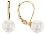 14k Yellow Gold 7-8mm White Cultured Japanese Akoya Pearl Leverback Earrings