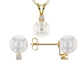 14k Yellow Gold 6-7mm Cultured Japanese Akoya Pearl Pendant And Earrings Set