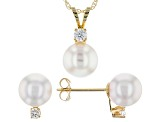 14k Yellow Gold 7-8mm Cultured Japanese Akoya And Cz Earring And Pendant Set 18 inch Chain