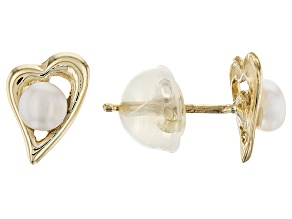 14k Yellow Gold 3-4mm White Cultured Freshwater Pearl Earrings