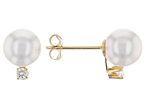 14kt Yellow Gold 6-7mm Cultured Japanese Akoya Pearl And Diamond Earrings