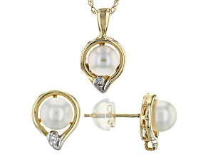14k Yellow Gold 5-5.5mm Culturedjapanese Akoya And Diamond Earrings And Pendant Set