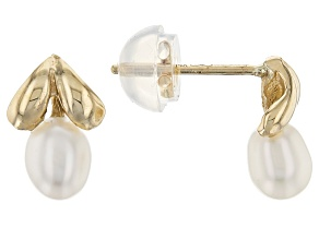 14k Yellow Gold 4-5mm White Cultured Freshwater Pearl Earrings