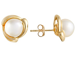 White Cultured Japanese Akoya 14k Yellow Gold Earrings 7-8mm