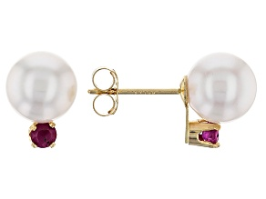 14k Yellow Gold 7-8mm Cultured Japanese Akoya Pearl And Ruby Earrings