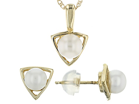14k Yellow Gold 5-6mm Cultured Freshwater Pearl Earrings And Pendant Set