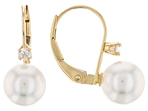 14k Yellow Gold 7-8mm White Cultured Japanese Akoya Pearl And Diamond Leverback Earrings