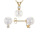 14k Yellow Gold 7-8mm Japanese Akoya And Diamond Earrings And Pendant Set