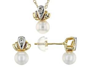 14k Yellow Gold 4-5mm Cultured Freshwater Pearl Earrings And Pendant Set