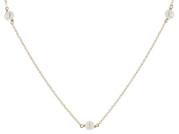 Picture of 14k Yellow Gold 4-4.5mm White Cultured Freshwater Pearl Tin Cup Necklace 14""