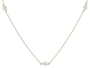 14k Yellow Gold 4-4.5mm White Cultured Freshwater Pearl Tin Cup Necklace 14""