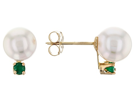 14k Yellow Gold 7-8mm Cultured Japanese Akoya Pearl And Emerald Earrings