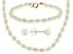 14k Yellow Gold White Cultured Freshwater Pearl Set