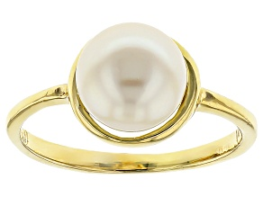 14k Yellow Gold Cultured White Freshwater Pearl Ring