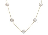 14k Yellow Gold 12-13mm White Coin Freshwater Pearl Necklace 20
