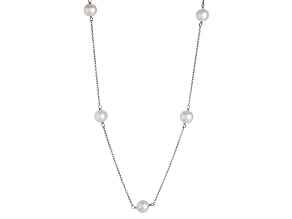 Rhodium Over Sterling Silver 6-7mm Cultured Japanese Akoya Pearl Necklace 18