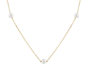 14k Yellow Gold 6-7mm White Freshwater Pearl Necklace 18