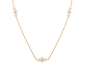 14k Yellow Gold 6-7mm White And Pink Freshwater Pearl Necklace 18""