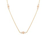 14k Yellow Gold 6-7mm White And Pink Freshwater Pearl Necklace 18